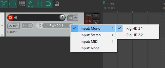 Reaper select audio input