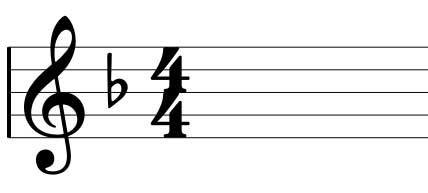 F Major scale key signature