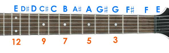 Fretboard notes with markers