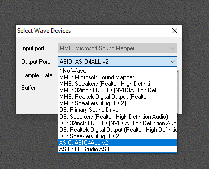 VSTHost Audio Settings