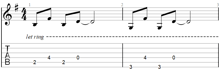 One guitar tab first bars