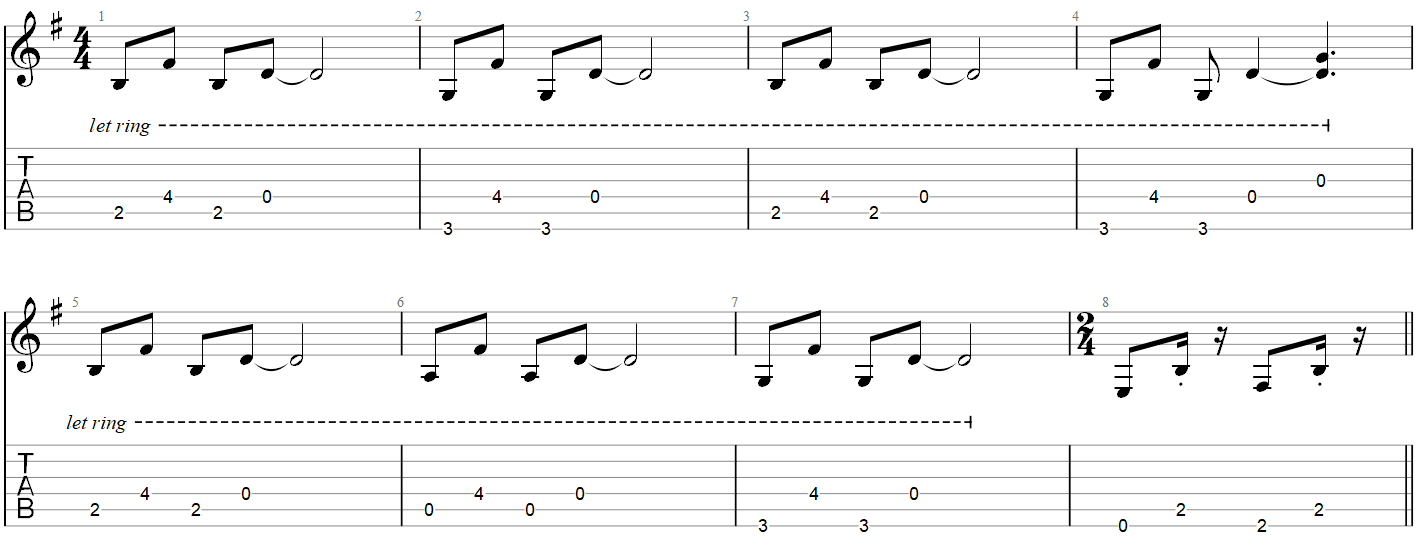 Metallica One intro guitar TAB part 1