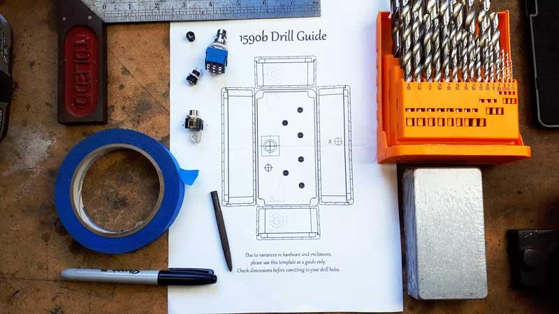 Guitar pedal drilling template
