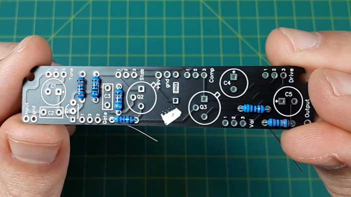 Guitar pedal PCB resistors