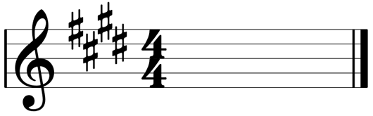 E Major scale key signature