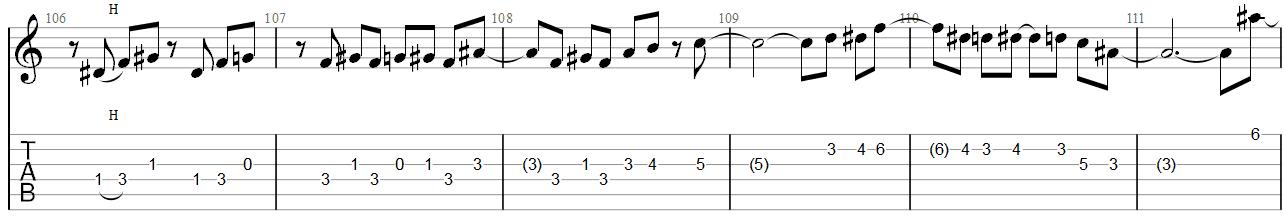 She Wolf Megadeth Guitar Solo TAB 2